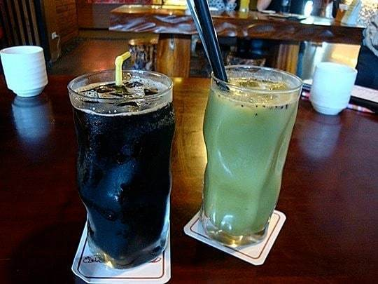 Taiwanese Desserts - Grass Jelly and Lei Cha drinks in a Hakka restaurant in Sanyi.