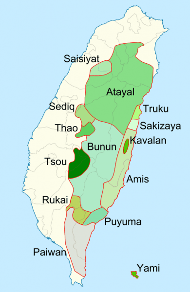 Taiwanese Aborigines Tribes Map - By base map: NordNordWest distribution map: Jappalang [GFDL (http://www.gnu.org/copyleft/fdl.html) or CC BY-SA 3.0 (http://creativecommons.org/licenses/by-sa/3.0)], via Wikimedia Commons